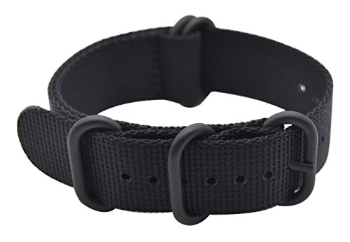 ArtStyle Watch Band with Ballistic Nylon Material Strap and High-End Black Buckle (Matte Finish Buckle) (Black, 22mm)