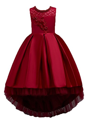 KISSOURBABY 3-14 Years Girls Party Wedding Holiday Dresses with Train