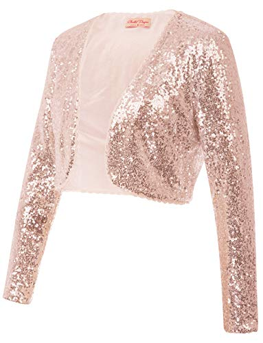 Classic Sequins Jackets Cardigan Sparkly Clubwear(S,Rose Gold) ()