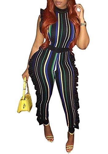 Remelon Womens Sleeveless Stripe High Neck Ruffle High Waist Bodyocn Jumpsuits Long Romper Pants (XX-Large, Green) ()