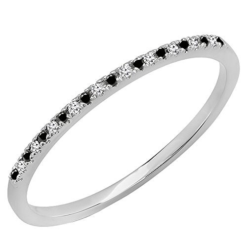 0.08 Carat (ctw) 10K Gold Round Black & White Diamond Dainty Anniversary Stackable Band