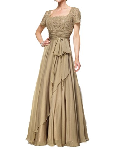 CCHAPPINESS Women's Floor Length Short Sleeve Mother Of The Bride Dresses Light Gold US 20