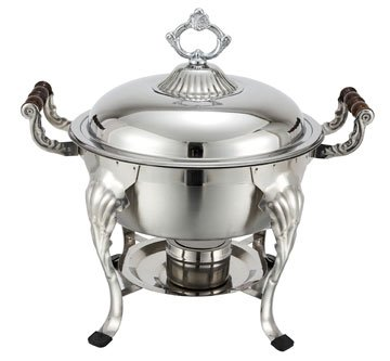 Winco - Crown Collection Chafing Dish Designed for Formal Occasions - 5 Qt. with Dome Cover, Round