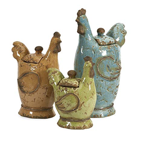 Rooster Kitchen Canister - IMAX 50353-3 Cherda Lidded Roosters - Set of 3 Handcrafted Decorative Canisters with Removable Lids. Home Decor Accents