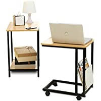 1208S 2-Pieces Nesting Table Set with Wheels Sofa Side Table and Rolling End Table, Burlywood