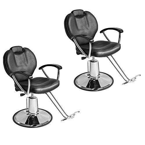 Hydraulic Styling Chair Set (Set of 2 Height Adjustable Hydraulic Recline Barber Chair Salon Beauty Spa Shampoo StylingChair)