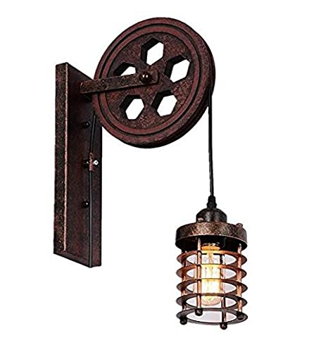 Kiven Nautical Lights Industrial Pulley Wall Sconce Steampunk Light Rustic Lighting