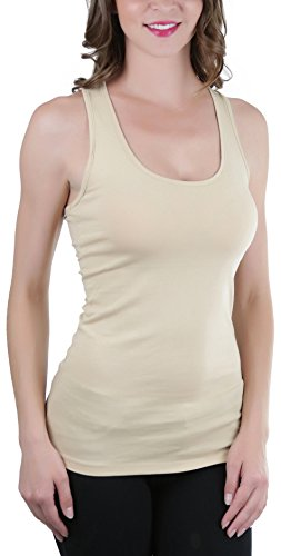 Premium Cotton Tank - ToBeInStyle Women's Racerback Solid Print Tank Top - Taupe - Medium