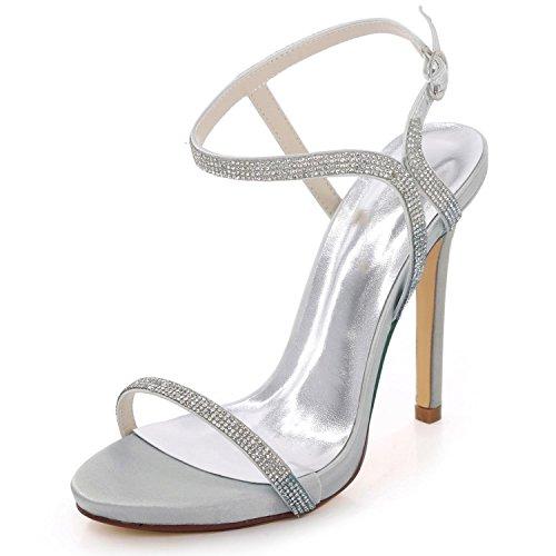 Sposa Party Scarpe 09 Open Strass Summer Bridal D7216 yc Tacco Toe Silver Prom A Spillo Da L Donna xHPznqUwHv