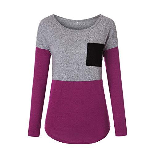 Casual Felpa Camicie Camicia Donna Shirt Magliette Camicette 1 Luckycat Rosso Pullover allentate a lunghe O maniche patchwork T Collo tSq6S1ax