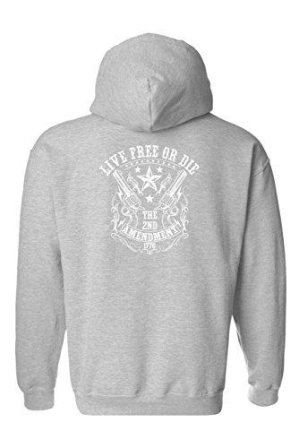 Die Zip Hoodie - Unisex Zip Up Hoodie Live Free Die 2nd Amendment: Grey (XXL)