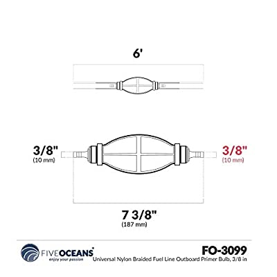 Five Oceans Marine Nylon Braided Fuel Line Kit for OMC, Johnson/Evinrude 3/8 inches FO-4421: Sports & Outdoors