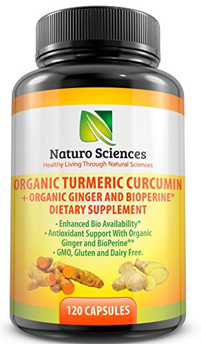 Organic Turmeric Supplement Curcumin Extract with BioPerine (Black Pepper Extract) and Ginger Powder Naturo Sciences 120 Capsules