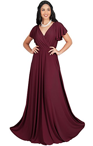 KOH KOH Plus Size Womens Long V-Neck Sleeveless Flowy Prom Evening Wedding Party Guest Bridesmaid Bridal Formal Cocktail Summer Floor-Length Gown Gowns Maxi Dress Dresses, Maroon Wine Red XL 14-16 (Big Women Prom Dresses)
