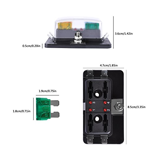 4-Way Blade Fuse Block, AutoEC Marine Fuse Box Holder for Car Boat Marine Trike with Led Safety Indicator for Blown Fuse by AutoEC (Image #2)
