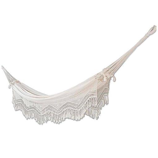 Garden and Outdoor NOVICA Natural White Ecru Cotton 2 Person Hand Woven XL Brazilian Hammock with Handmade Crochet Fringe, Manaus Majesty… hammocks