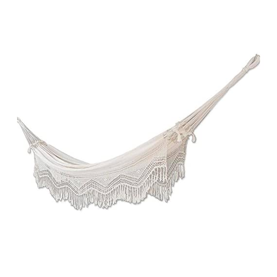 "NOVICA HAM0011 Manaus Majesty Hammock, Beige - Hammock size: 143"" L x 65"" W, Bed size: 90"" L x 65"" W Authentic: an original NOVICA fair trade product in association with National Geographic. Certified: comes with an official NOVICA Story Card certifying quality & authenticity. - patio-furniture, patio, hammocks - 41O66kDp0yL. SS570  -"