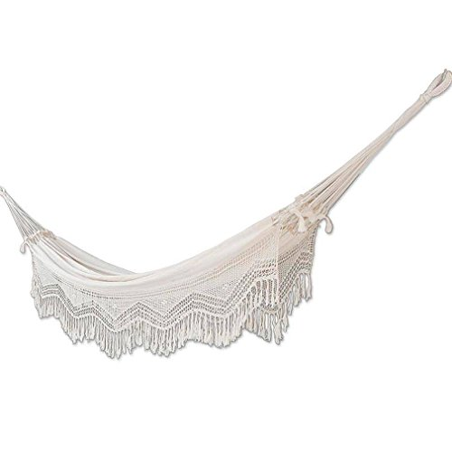 NOVICA Handmade Brazilian Natural Ecru Cotton 2 Person Hand Woven Hammock with Crochet Fringe, 'Manaus Majesty' (double)