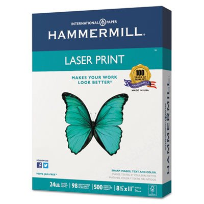 Laser Print Office Paper, 98 Brightness, 24lb, 8-1/2 x 11, White, 500 Sheets/Rm, Total 10 RM, Sold as 1 Carton