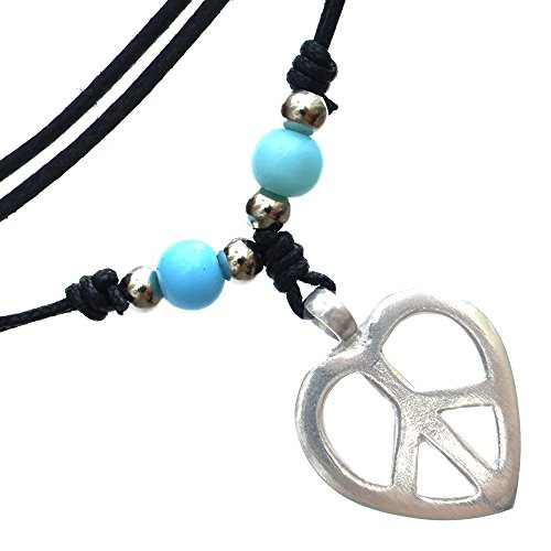 Heart shaped peace sign pewter pendant Handmade adjustable necklace beads decorated