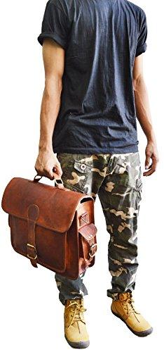 Para hombre bolso bandolera de piel para portátil (15,6bolsa de hombro Maletín Bolso de regalo