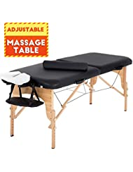 """Massage Table Massage Bed Spa Bed 73"""" L 28""""W Height Adjustable Massage Table W/Bolsters Carry Case 2 Fold Portable Salon Bed"""