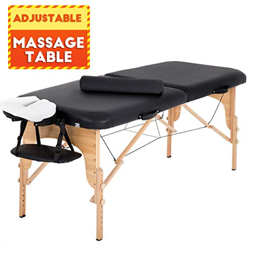"BestMassage Massage Table 73"" L 28""W Height Adjustable W/Bolsters Carry Case 2 Fold Portable Spa Salon Bed, Black"