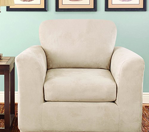 Arm Chair Box Cushion - SureFit Stretch Suede Bench Seat - Chair Slipcover - Taupe