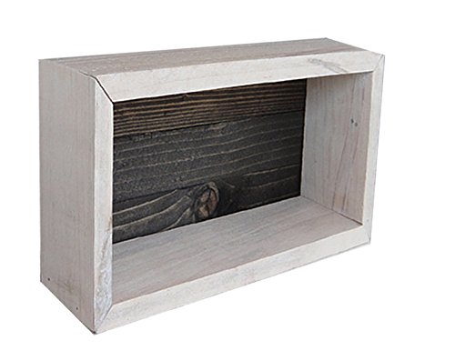 Wood/Wooden Shadow Box Display With Backing - 12'' x 6'' - Two Tone - Antique White/Ebony Black - Rustic Decorative Reclaimed Distressed Vintage Appeal by IGC