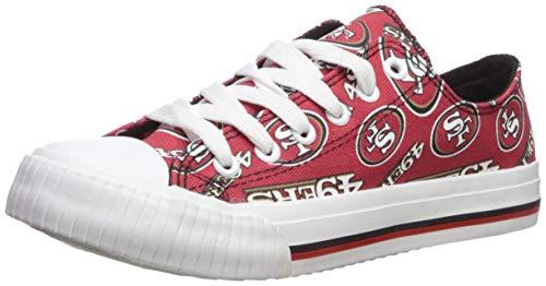 (FOCO NFL San Francisco 49Ers Women's Low Top Repeat Print Canvas Shoe, Team Color, X-Large)