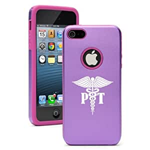 """Apple iPhone 6 Plus (5.5"""") Aluminum Silicone Dual Layer Hard Case Cover PT Physical Therapy Med Symbol (Purple)"""