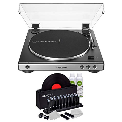 Audio-Technica AT-LP60X USB Fully Automatic Belt-Drive Stereo Turntable (Gunmetal) with Knox Gear Vinyl Record Cleaner Kit