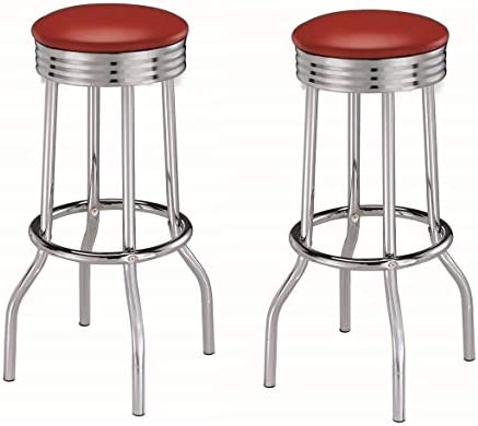 Coaster Home Furnishings CO-2299R Bar Stool, Set Of 2, Red and Chrome