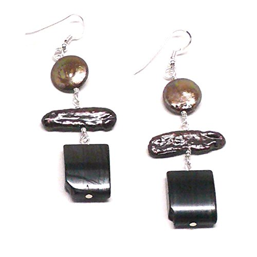 Bronze Cultured Freshwater Pearl Coin and Biwa Tigeriron Sterling Silver Earrings