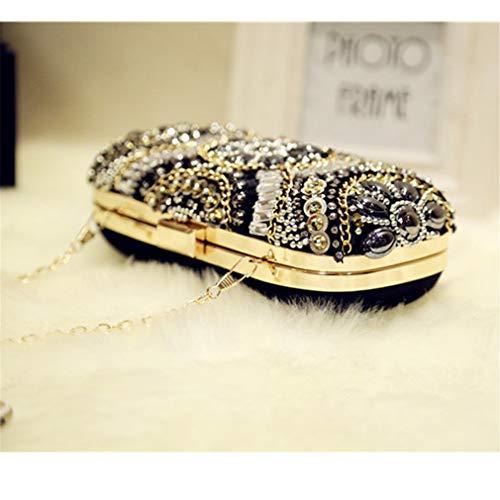 ULKpiaoliang Party Bags Bags Small Women Rhinestone Shoulder Bags Bags Evening Women Retro Beaded Crystal Clutch Chain Diamond Gray wwSrABq