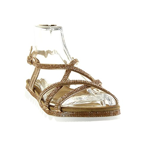 Angkorly - Chaussure Mode Sandale semelle basket femme multi-bride strass diamant boucle Talon plat 2.5 CM - Champagne