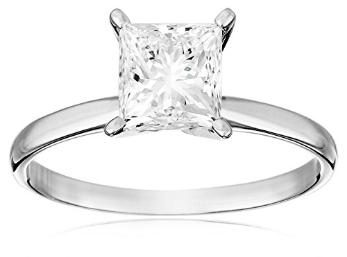IGI Certified 18k White Gold Classic Princess-Cut Diamond Engagement Ring (2.0 carat, H-I Color, SI1-SI2 Clarity), Size - Ct Princess Ring Diamond Cut 2