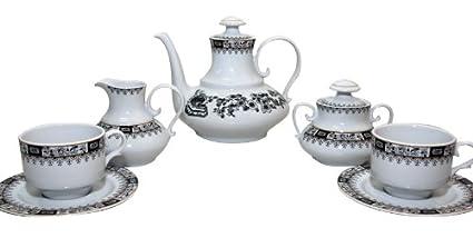 Santa Clara Granada China Negro - Juego de té 6 servicios, 15 piezas