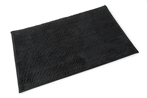 SOFT CHENILLE SPOT BLACK BATHMAT BATH MAT RUG W50CM X ()
