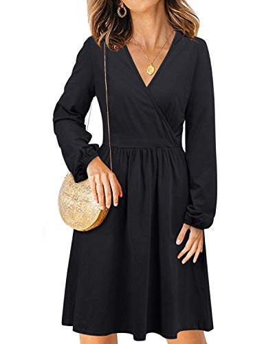 STYLEWORD Women's V Neck Long Sleeve Casual Party Midi Dress with Pockets(Black-488,M)