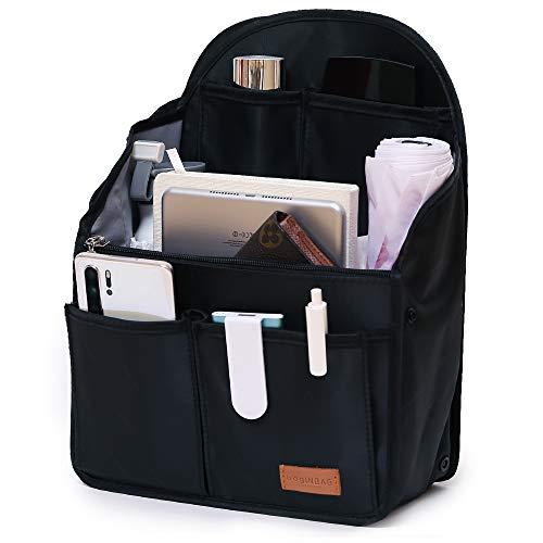 IN Backpack Organizer Insert,Nylon Organizer Insert for Backpack Rucksack Shoulder Bag Woman MCM divider foldable ... (black)