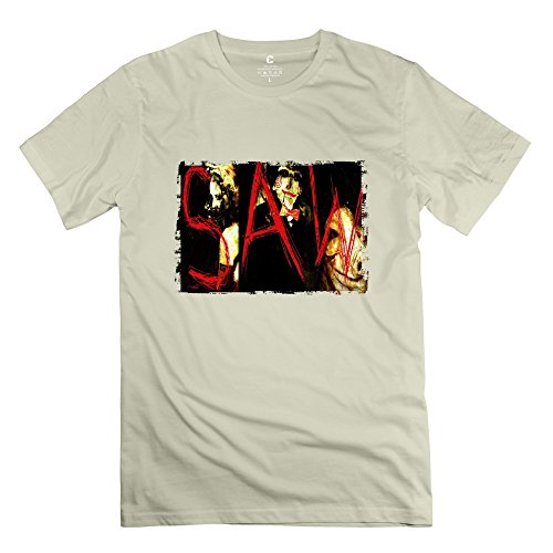 - Men's Saw Movie Poster Short Sleeve 100% Cotton T-shirt Size XS Natural