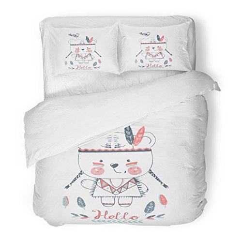 SanChic Duvet Cover Set Red Baby Cute Indian Bear Girl Bird Kid's Baby's Design Graphic Tee Animal Tribal Decorative Bedding Set with 2 Pillow Shams Full/Queen Size