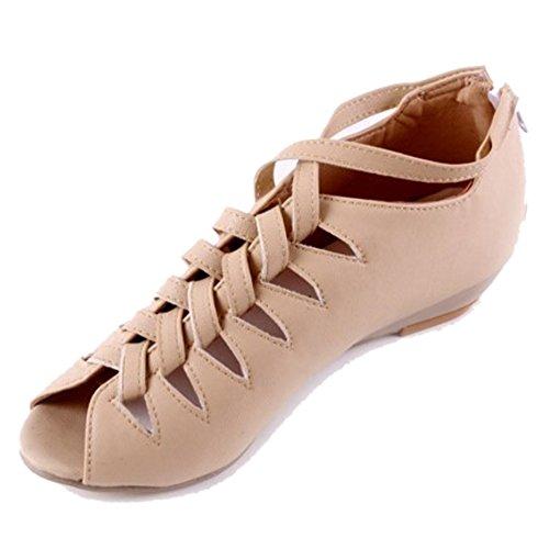 apricot Women Wedge Shoes Gladiator TAOFFEN Toe Sandals Peep Hidden Casual Heel vBdqR