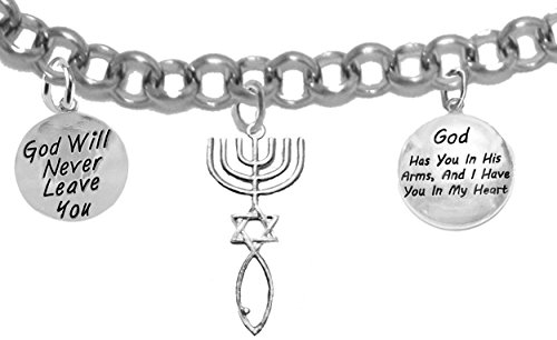 (Messianic Seal of Jerusalem, God Will Never Leave You, God Has You In His Arms And I Have You In My Heart, On A Adjustable Rolo Chain Bracelet, Hypoallergenic, Safe-Nickel, Lead, Cadmium Free)