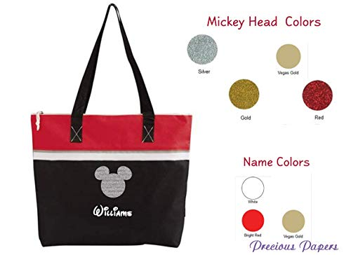 Personalized Mouse head Red and black tote bag for a cruise or a trip to amusement park your name with choice of colors]()