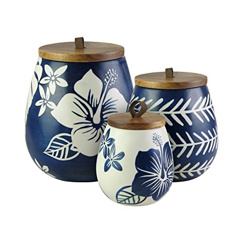 American Atelier 7120-CAN-RB Floral Canister Set 3-Piece Ceramic Jars Chic Design With Lids for Cookies, Candy, Coffee, Flour, Sugar, Rice, Pasta, Cereal & More Blue and White, 20x6.8