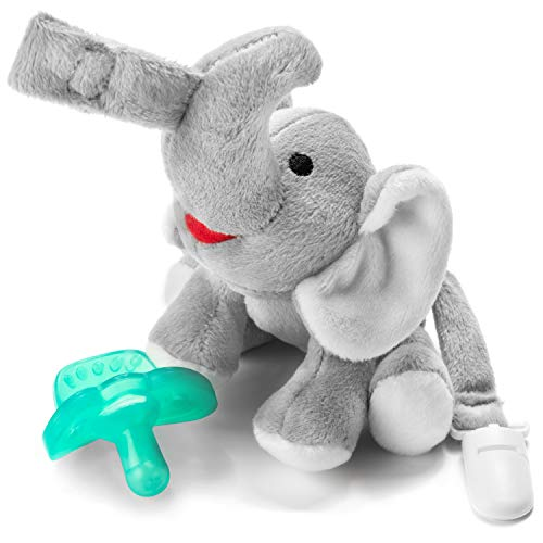 Bryco Baby Elephant Pacifier Holder - Includes Detachable Pacifier, Tail Clip, and Rattle - Soft Plush Stuffed Animal Toys for Infants - BPA-Free Silicone Pacifier is Easy to Clean and Dishwasher Safe ()