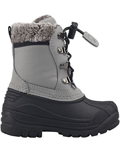 Oakiwear Childs Winter Snow Boots, Neutral Gray, 11T US Toddler (Children's Winter Boots')