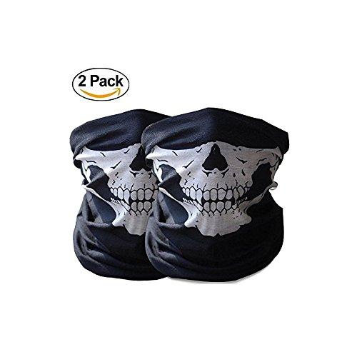 Ghost Ski Mask (Goodbuy Tubular Protective Dust Skull Face Mask Bandana Neck Warmer for Motorcycle (2 pack))